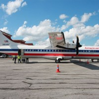 American Eagle ATR-72 (N414WF) on the ground in Camaguey, Cuba, for a charter flight