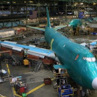 A Boeing 747-8 Freighter under construction in Everett