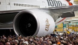 Crowds gathered around the 1,000th Boeing 777 ever built, which will soon be delivered to Emirates A6-EGO