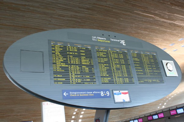 Departures board in Charles De Gaulle Airport's Terminal 2E. (Photo by Matt Molnar)