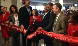 Ribbon cutting for the inaugural flight from LaGuardia to Miami. (Photo by Matt Molnar)
