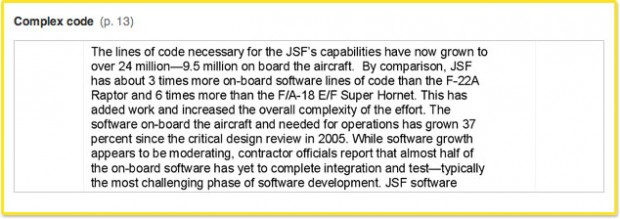 The JSF's software still needs work. Sullivan told Congress that the development of the software that they need to make this aircraft fully combat capable is still as complex as anything on earth.
