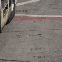 Markings for planes of yesteryear engraved into the ramp at JFK's Terminal 3, formerly known as the Pan Am Worldport.