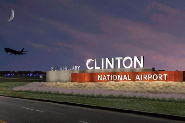 This sign may greet visitors to the newly renamed Bill and Hillary Clinton National Airport in Little Rock.