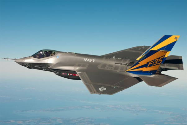 The US Navy variant of the F-35 Joint Strike Fighter, the F-35C, conducts a test flight over the Chesapeake Bay. (Photo by US Navy)