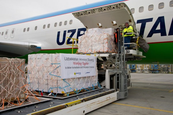 Pallets of medical supplies are loaded onto a new Uzbekistan Airways Boeing 767-300ER