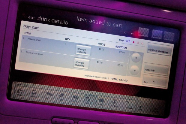 Ordering dinner on Virgin America