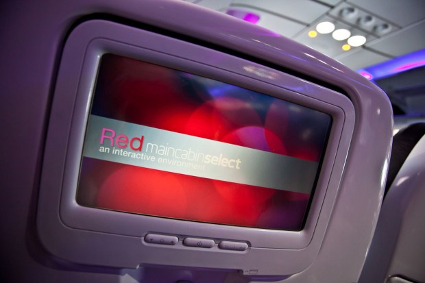 Main Cabin Select passengers are greeted by a special screen