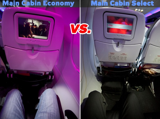 Virgin Main Cabin Economy versus Main Cabin Select