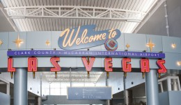 A sign welcomes flyers arriving at McCarran International Airport in Las Vegas