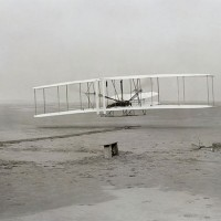 First successful flight of the Wright Flyer in 1903, for which the Wright Brothers filed a patent on March 23, 1902.
