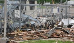 Damage at the Spirit AeroSystems facility in Wichita, Kansas. (Photo by Spirit AeroSystems, via Flickr)