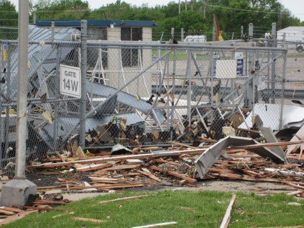 Damage at the Spirit AeroSystems facility in Wichita, Kansas. (Photo by Spirit AeroSystems, via Flickr)