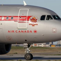 Air Canada's retro Airbus A319 (C-FZUH) spotted in Toronto. (Photo by Kaz T)