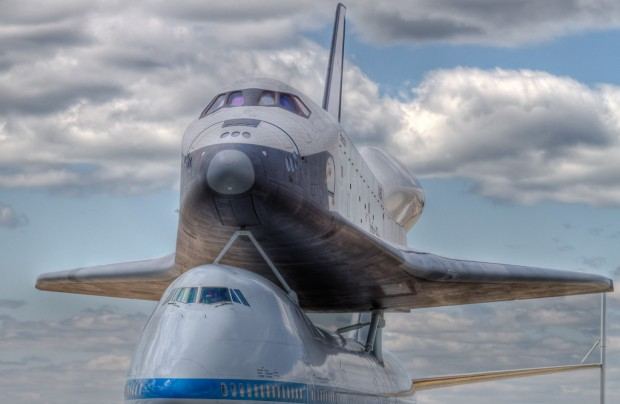 Space Shuttle Enterprise on the Shuttle Carrier Boeing 747. (Photo by Eric Dunetz)