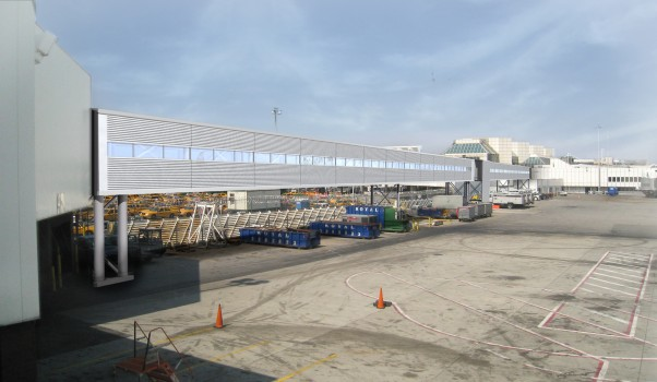 An artist&#039;s rendering of the walking bridge connecting LaGuardia Terminals C and D. (Image by Delta)