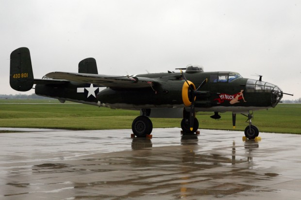 The B-25 named My Buck waits for the skies to clear at rainy Grimes Field in Urbana, Ohio. (Photo by Bryan Heim/NYCAviation)