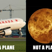 An Air Canada Boeing 767-300ER (C-GEOQ) seen lifting off from Montreal (left: Photo by Gordon Gebert Jr.). A radar image of Venus from the Magellan spacecraft. (right: Image by NASA)