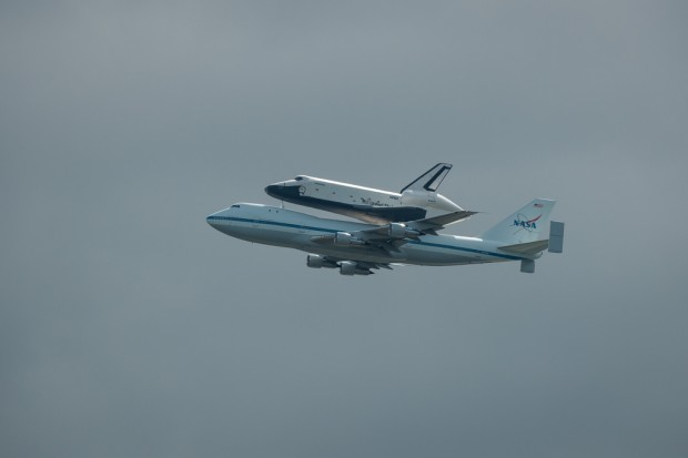 Space Shuttle Enterprise and the Shuttle Carrier. (Photo by NASA/Scott Andrews)