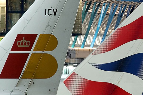 British Airways and Iberia tails.