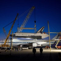 In preparation for its flight to New York, Space Shuttle Enterprise is mounted to the top of the Boeing 747 Shuttle Carrier Aircraft at Dulles Airport early Friday morning. (Photo by NASA/Bill Ingals)