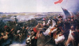 A painting by Jean Baptiste Mauzaisse depicts French and Austrian forces at the Battle of Fleurus with the balloon l'Entreprenant in the background.