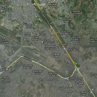 Rough location of the crash site, about 1 mile from the end of the Benzair Bhutto International Airport runway. (Map via Google)