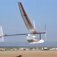 The MIT Daedalus makes a test flight at NASA's Dryden Flight Research Center. (Photo by NASA)