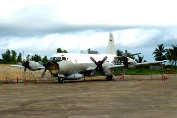 The damaged US Navy Lockheed EP-3 that landed on Hainan Island after a collision with a Chinese Shenyang J-8 interceptor. (Photo by Lockheed Martin)