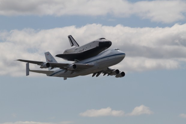 Space Shuttle Enterprise and the Shuttle Carrier Aircraft. (Photo by Fred Miller)