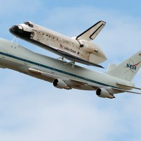 Space Shuttle Discovery hitching a ride on the Boeing 747 Shuttle Carrier Aircraft. (Photo by NASA)