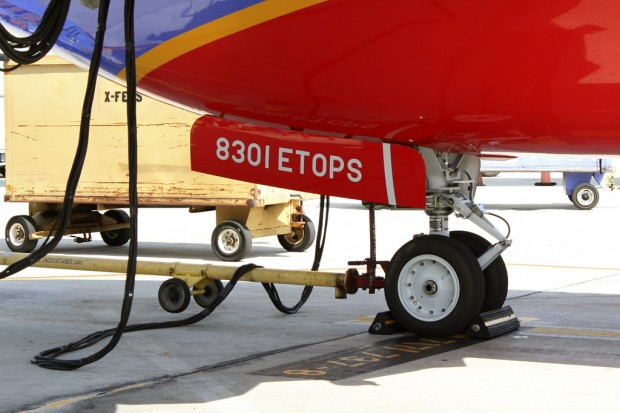 Markings on the front landing gear doors, as well as the rear fuselage note the plane's ETOPS certification. (Photo by Matt Molnar/NYCAviation)