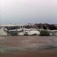 A collapsed building at the Spirit AeroSystems complex in Wichita. (Photo by KWCH12, via Twitter)