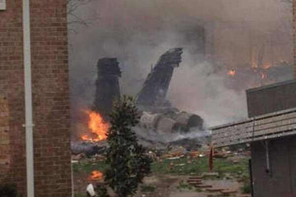 Wreckage of the F/A-18 which crashed in Virginia Beach
