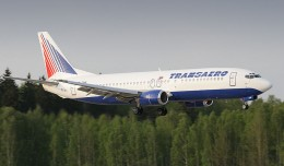 A Transaero Boeing 737-400 (EI-CXK) lands at Moscow Domodedovo Airport.