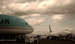 An Airbus A380 and Boeing 747-8 Freighter on display at the 2011 Paris Air Show. (Photo by Rohan Visvanathan, via Flickr, CC BY-NC-ND)