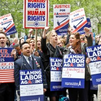 American Airlines flight attendants protest labor cuts in New York City, April 23, 2012. (Photo by the Association of Professional Flight Attendants)