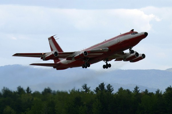 The last flying Boeing 720 (C-FETB), whose final decades were spent working as a Pratt & Whitney engine testbed, is seen here taking off from Plattsburgh in 2008. (Photo by Senga Butts)