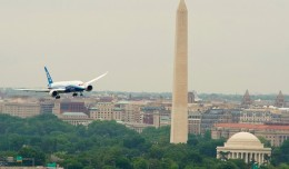 Boeing 787-8 passes the Washington Monument and Jefferson Memorial on the River Visual approach to Reagan National Airport's Runway 19. (Photo by Boeing)