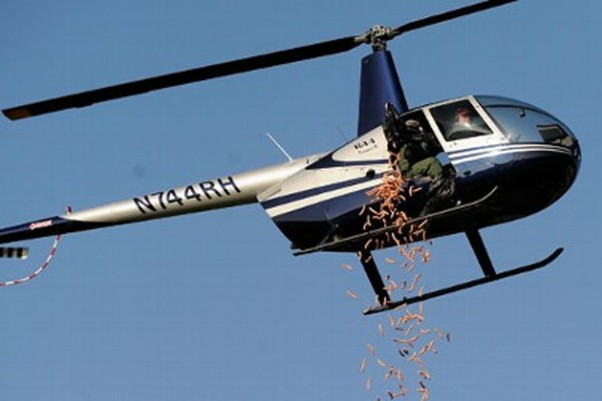 Hot dog copter in action. (Photo by David Coates/The Detroit News)