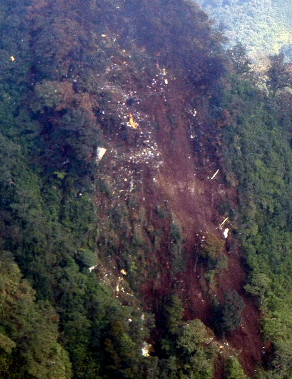 Wreckage of the Sukhoi Superjet 100 on Mt. Salak.