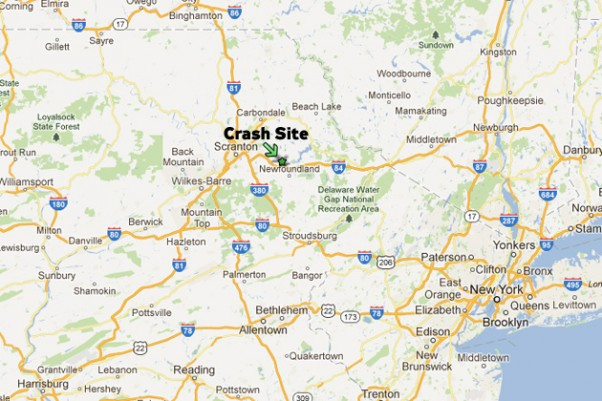 Site of the crash at Spring Hill Airport in Sterling, Pennsylvania. (Map by Matt Molnar/Google Maps)