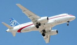 Sukhoi Superjet 100 97004, the accident aircraft, is seen here flying hot weather/high altitude trials in Mexico. (Photo by Andre Austin Du-Pont Rocha/Mexico Air Spotters M.A.S.)