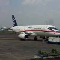 In a photo posted on Sky Aviation's Facebook page, the Sukhoi Superjet-100 demonstrator sits at Halim Perdanakusuma Airport in Jakarta before takeoff Wednesday. Ten Sky employees were onboard.