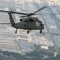 A Virginia Guard Blackhawk helicopter on a training mission near Fort Hood, Texas. (Photo by Cotton Puryear, Va. Department of Military Affairs)