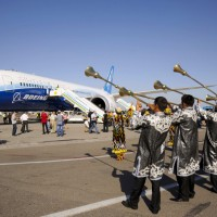 As the Boeing [NYSE: BA] 787 Dreamliner touched down at Tashkent International Airport as part of the Dream Tour, the airplane received a rousing welcome with a traditional dance by a troupe of Uzbek performers.