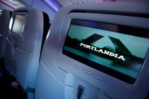 Portlandia plays on the RED entertainment system as we get airborne. (Photo by Jeremy Dwyer-Lindgren/NYCAviation)