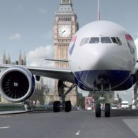 British Airways Boeing 777 driving through London in a TV commercial.