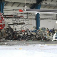 All that's left of CSA's ATR 42 OK-KFM is a charred pile of debris. (Photo by pozary.cz)