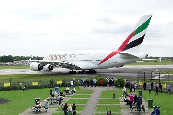 The incident aircraft, Emirates Airbus A380 A6-ADD, is seen taxiing at Manchester, England. (Photo by MCPCShowcaseHD)